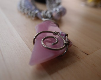 Handmade Pink Wire Wrapped Pendant with a Pink Bead Chainmaille Necklace