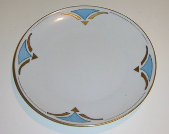 Vintage Opalescent Hand-Painted Porcelain Plate Signed Germany, likely from Bavaria
