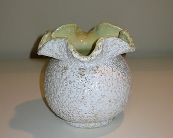 Mid Century China Craft Spatter Pottery Vase with Apple Green Interior