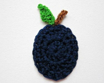 "1pc 3"" Crochet PLUM with Leaf Applique"