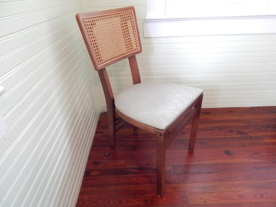 Handsome Folding Chair by Stakmore Sturdy Mid Century