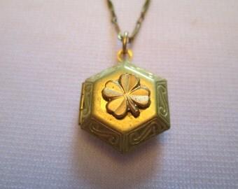 STEAMPUNK LOCKET Necklace Four Leaf Clover Good LUCK Vintage Watch Part Hidden Inside Brass Gold Hexagon Shape by DKsSteampunk