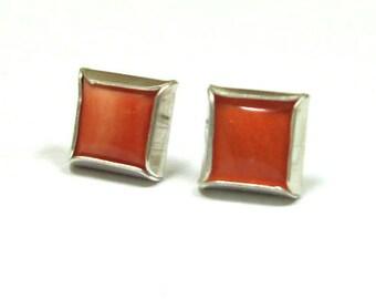 genuine coral stud earrings