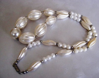 Statement Necklace -  Beaded Necklace - Vintage White Beige Necklace