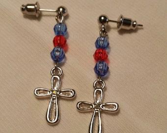 Girl's Bead and Cross Drop Earings