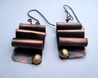 Waves. copper earrings. dark brown handmade earrings, statement lightweight earrings