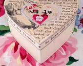 Vintage style Alice In Wonderland themed wedding ring box hearts cheshire cat keepsake