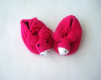 animal baby shoes, Fuchsia baby girl shoes, baby shower gifts, crochet baby shoes booties mouse donkey animal baby shoes booties