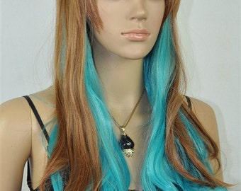 Rachel // Light Brown and Blue Full Synthetic Wig
