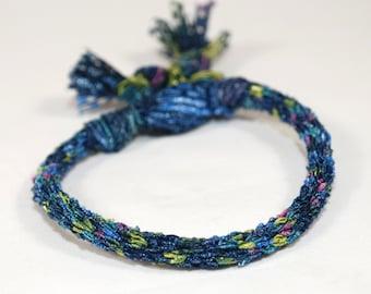 Ribbon Bracelet Kumihimo Braid Navy Blue Flecked Fibre Jewelry