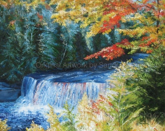 "LARGE FALL LANDSCAPE Michigan Art Tahquamenon Falls 24"" x 30"" Painting Original Oil"