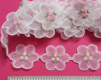 "Vintage tulle flower lace with pink flower center, 1 1/4"" wide, 1 yard piece (R-199-1)"