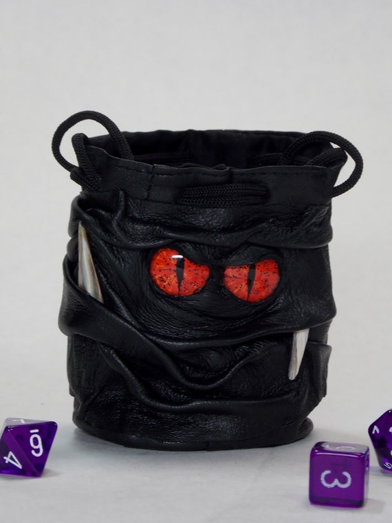 RPG LARP Dice Marble Card Bag Fairy Pouch With FaceDragon Eyes Drawstring Leather