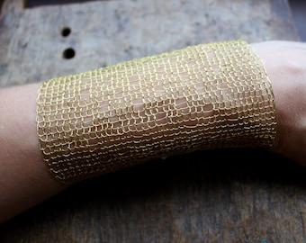 TIVOLI Extra Wide Gauze Cuff Bracelet/ Brass Wire Lacy Crocheted Bracelet/ Statement Chic Classy Unusual Bracelet