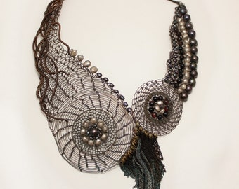 ELOIZA Statement Extravagant Necklace/ Copper Wire Crocheted Bib Necklace with Pearls/ Unusual Unique Large Bib Art Necklace. Example