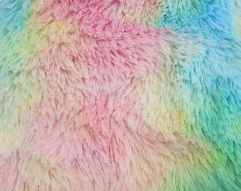 Rainbow Minky Mini Shaggy 54 Inch Wide Fabric by the Yard, 1 yard