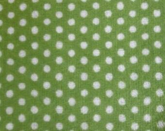 Jade / Snow Swiss Dot Minky 58 Inch Wide Fabric By The Yard.