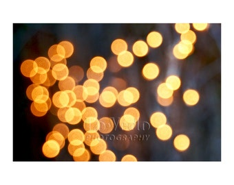 Golden Lights Photo, Night, Romance, Mystery, Magic, Abstract Photography, Bokeh Photo, Polka Dots, Gold Home Decor, Circles