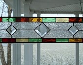 Stained Glass Window Panel Multi Color Transom with Bevels