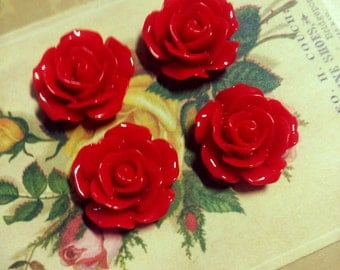 4 pieces Red Rose Flower Cabochons Flat Back Resin Cabochons RED RED ROSE 18mm