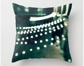 Boston Pillow, Boston Photograph, Sparkle Bokeh Lights, Green, Black, White, Decor, Neutral Throw Pillowcase, Cushion, City Architecture