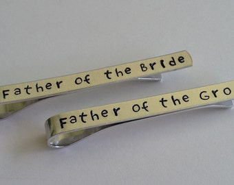 "Hand Stamped ""Father of the Bride"" and ""Father of the Groom"" Tie Bar Set / Father Wedding Gift / Wedding Keepsake"