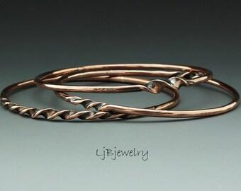 Copper Bangle, Stacking Bangles,  Twisted Bangle, Bracelet Set, Triple Bangle Set, Forged, Earthy Organic Style, Copper, Metalsmith Jewelry