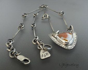 Silver Necklace, Gemstone Necklace, Ocean Jasper Necklace,  Necklace, Sterling Silver. Metalsmith Jewelry, Art jewelry, Ocean Jasper