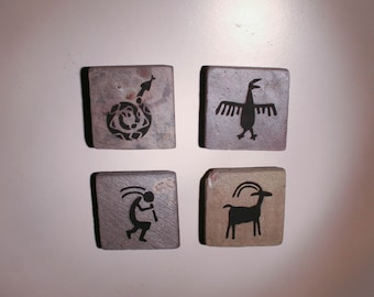 Petroglyph magnets - natural stone with hand painted design - set of 4
