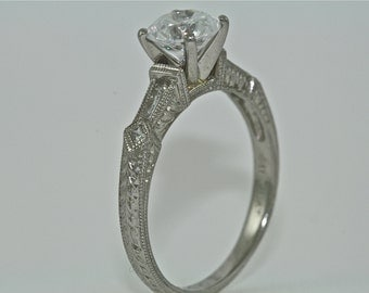 Platinum and Diamonds Art Deco Design Hand Engraved Engagement Ring with 1.00ct White Sapphire