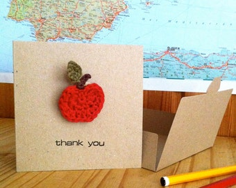 Teacher Thank you Card with Apple Brooch / Thankyou Gift / Teacher Appreciation / Apple Teacher Gift / Apple Card
