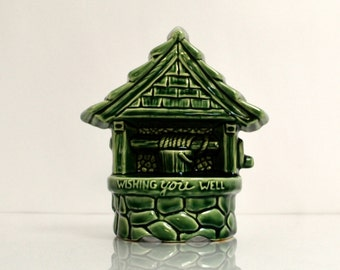 Green Wishing Well Planter - Vintage Pottery - McCoy - Home Decor