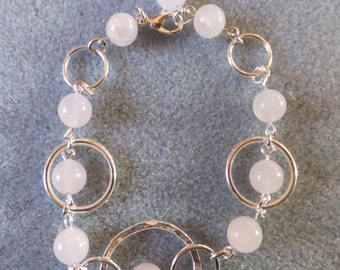 Silver Rose quartz bracelet, ladies bracelet, pink bracelet