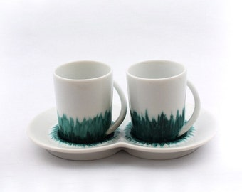 Coffee cups with one saucer in fine porcelain, urban chic, made in france, perfect gift for couple, emerald green, loving beakfast