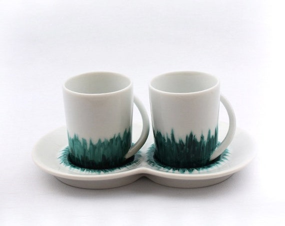 set tasses caf avec plateau soucoupe en by muryeltomme. Black Bedroom Furniture Sets. Home Design Ideas