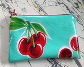 "NEW Aqua Cherries and Polka Dot Oilcloth Coin Purse Zipper Pouch Wetbag Cosmetic Bag 3.5"" x 5.5"""
