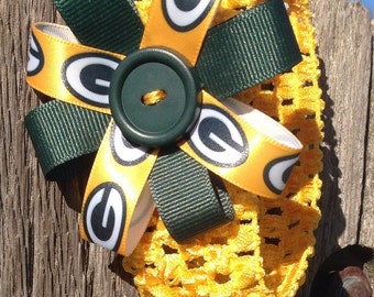 Green Bay Packer Headband with ribbon flower