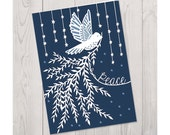 SALE - Peace Dove - 5x7 Folded Christmas Greeting Card - Papercut Illustration
