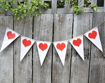 HEART Banner Wedding/Valentines - Printable INSTANT DOWNLOAD