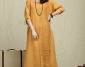 Oversize Loose Casual Dress, Pleated Linen Dress in yellow / Shift Dress / maxi shirt dress - custom