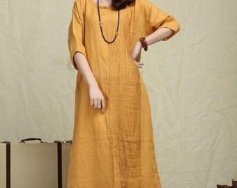 Oversize Loose Casual Dress, Pleated Linen Dress in yellow / Shift Dress / maxi shirt dress - custom
