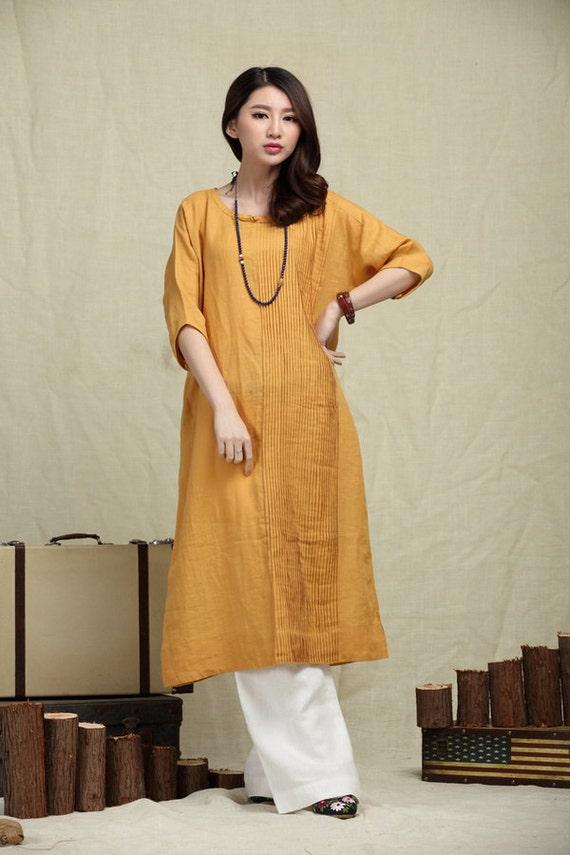robe jaune jaune robe de linge robe longue de lin. Black Bedroom Furniture Sets. Home Design Ideas