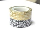 Washi Tape - Gold Triangles Washi Tape - Black Triangles Washi Tape - 10 meter masking tape