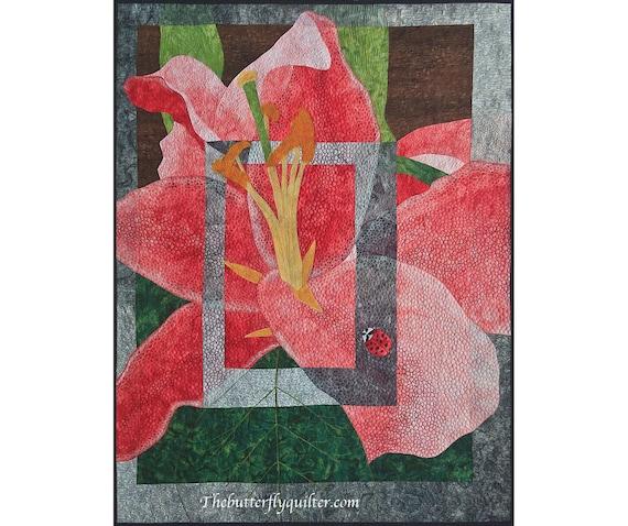 Stargazer Lily Quilt Wall Hanging, Textile Fiber Art, Pink Flower