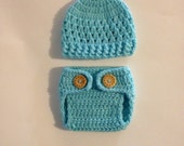 Crochet Baby Boy Outfit,Crochet Baby Hat And Diaper Cover Set,Newborn Photo Prop,Coming Home Outfit , Diaper Cover,Made To Order