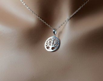 All Sterling Silver Tree Of Life Amity Necklace, Minimalist Tree Life Family Mother's necklace