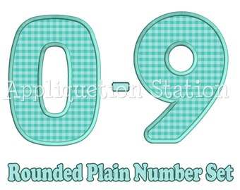 Rounded Plain Birthday Number Set Applique Machine Embroidery Design 1st first boy girl 0,1,2,3,4,5,6,7,8, AND 9 blue  INSTANT DOWNLOAD