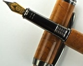 Handcrafted Wooden Pen Hand Turned Fountain Pen Beautiful Quarter sawn Maple and custom Finial with Gun Metal Hardware 508FPA