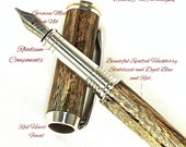Custom Fountain Pen Beautiful Spalted Hackberry with Blue and Red Dye and Red Heart Finial Rhodium and Gold Titanium Hardware 668FPU