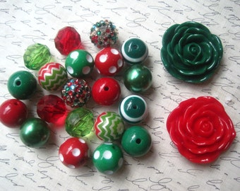 Red and Green Necklace Kit, Gumball Bead Kit, Holiday Necklace, Bubblegum Necklace Kit, Red and Green Beads, DIY Necklaces